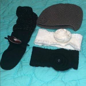 Accessories - Bundle of socks, hat, and 2 ear headbands all OS